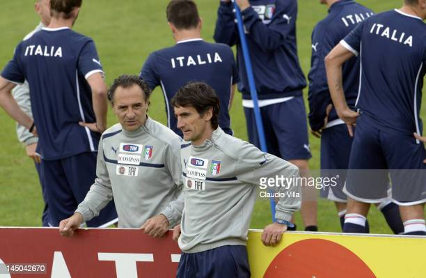 Head coach Cesare Prandelli of Italy and assistant coach Gabriele Pin during a training session at Coverciano on May 23 2012 in Florence Italy