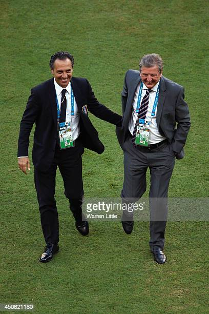Head coach Cesare Prandelli of Italy and England Manager Roy Hodgson greet each other on the field prior to the 2014 FIFA World Cup Brazil Group D...