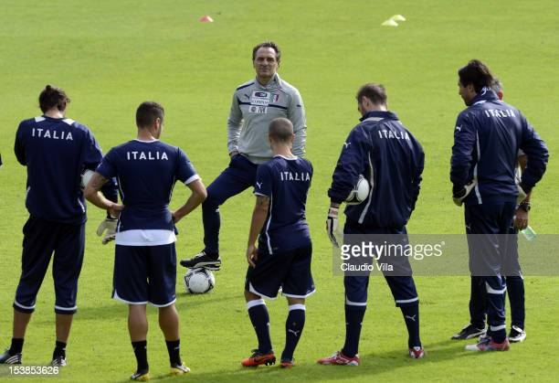 Head coach Cesare Prandelli of Italy during a training session ahead of their FIFA World Cup qualifier against Armenia at Coverciano on October 10...