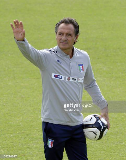 Head coach Cesare Prandelli of Italy getures during a training session at Coverciano on September 4, 2012 in Florence, Italy.