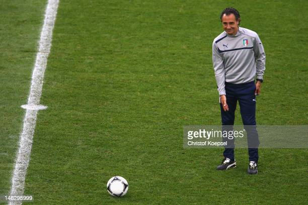 Head coach Cesare Prandelli of Italy issues instructions during a UEFA EURO 2012 training session at the Municipal Stadium on June 13 2012 in Poznan...