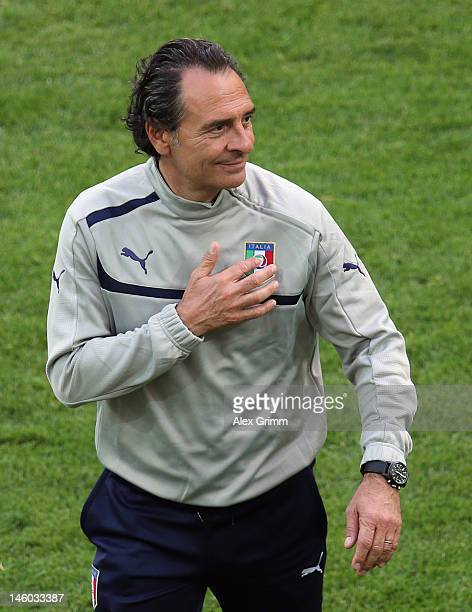 Head coach Cesare Prandelli of Italy reacts during a UEFA EURO 2012 training session ahead of their Group C match against Spain at the Municipal...