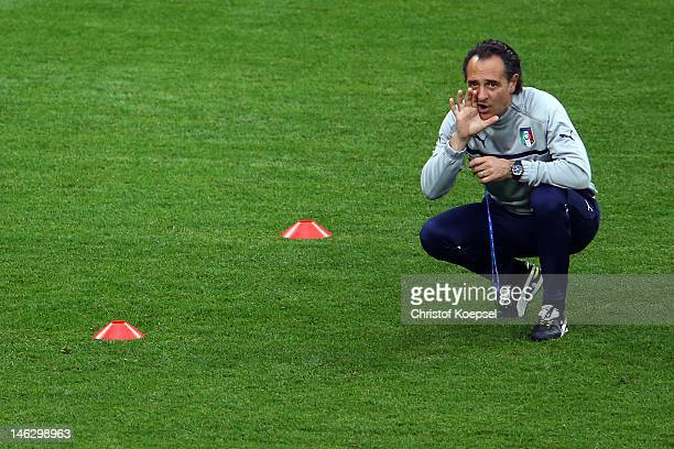 Head coach Cesare Prandelli of Italy shouts during a UEFA EURO 2012 training session at the Municipal Stadium on June 13 2012 in Poznan Poland