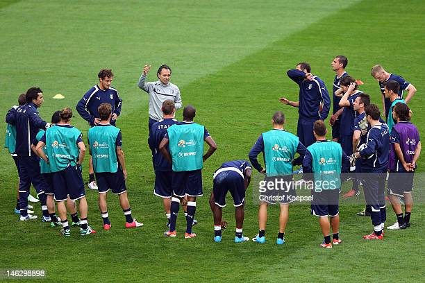 Head coach Cesare Prandelli of Italy speaks to the team during a UEFA EURO 2012 training session at the Municipal Stadium on June 13 2012 in Poznan...