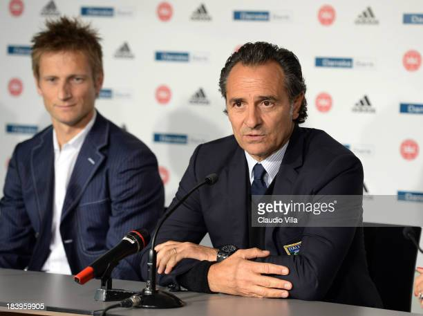 Head coach Cesare Prandelli of Italy speasks during a press conference ahead of their FIFA 2014 World Cup qualifying group B match against Denmark at...