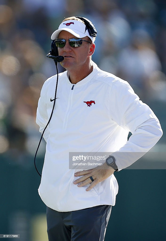 Head coach Chad Morris of the Southern Methodist Mustangs reacts during the first half of a game against the Tulane Green Wave at Yulman Stadium on October 29, 2016 in New Orleans, Louisiana.
