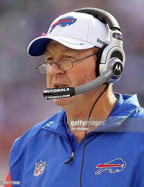 Head coach Chan Gailey of the Buffalo Bills looks on against the New York Giants on October 16 2011 at MetLife Stadium in East Rutherford New Jersey...