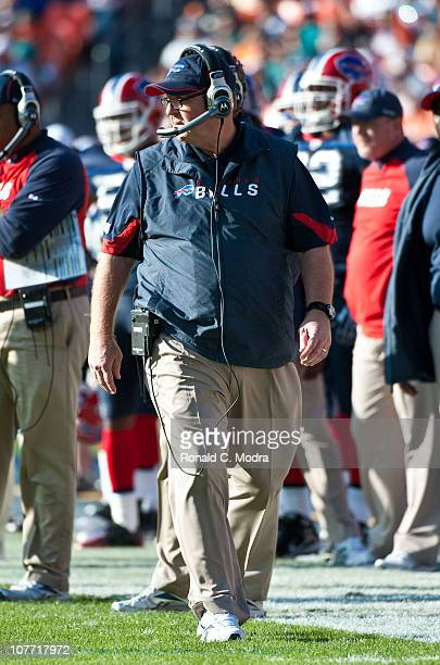 Head coach Chan Gailey of the Buffalo Bills looks on during a NFL game against the Miami Dolphins at Sun Life Stadium on December 19 2010 in Miami...