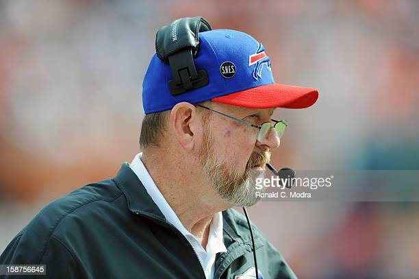 Head coach Chan Gailey of the Buffalo Bills looks on during a NFL game against the Miami Dolphins on December 23 2012 at Sun Life Stadium in Miami...