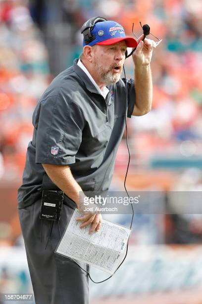 Head coach Chan Gailey of the Buffalo Bills looks on during a time out against the Miami Dolphins on December 23 2012 at Sun Life Stadium in Miami...