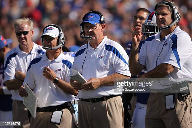 Head coach Chan Gailey of the Buffalo Bills looks on from the sidelines during an NFL game against the Oakland Raiders at Ralph Wilson Stadium on...