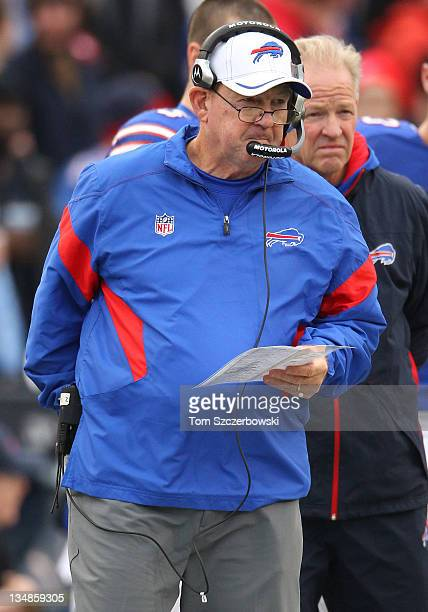 Head coach Chan Gailey of the Buffalo Bills looks on from the sideline during their NFL game against the Tennessee Titans at Ralph Wilson Stadium on...