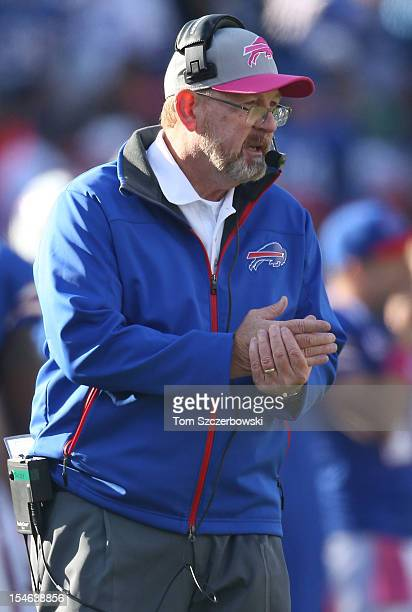 Head coach Chan Gailey of the Buffalo Bills on the sideline during an NFL game against the Tennessee Titans at Ralph Wilson Stadium on October 21...
