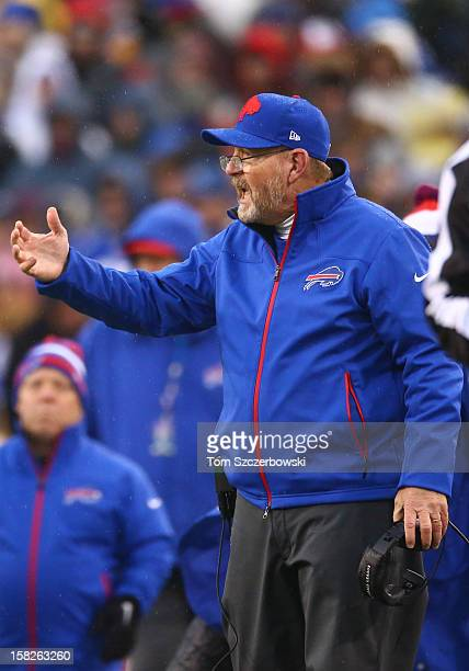 Head coach Chan Gailey of the Buffalo Bills reacts from the sideline during an NFL game against the St Louis Rams at Ralph Wilson Stadium on December...