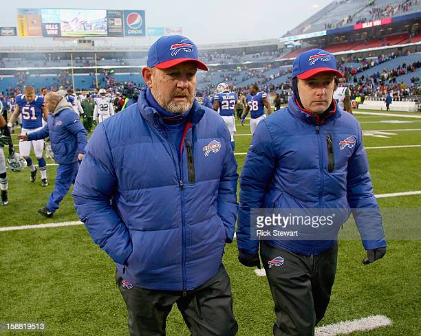 Head coach Chan Gailey of the Buffalo Bills walks off the field after defeating the New York Jets at Ralph Wilson Stadium on December 30 2012 in...