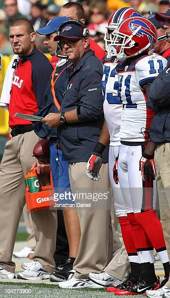 Head coach Chan Gailey of the Buffalo Bills watches as his team takes on the Green Bay Packers at Lambeau Field on September 19 2010 in Green Bay...