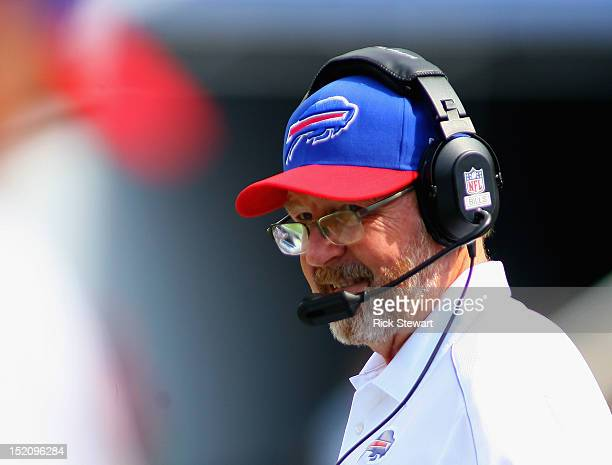 Head coach Chan Gailey of the Buffalo Bills watches play against the Kansas City Chiefs at Ralph Wilson Stadium on September 16 2012 in Orchard Park...