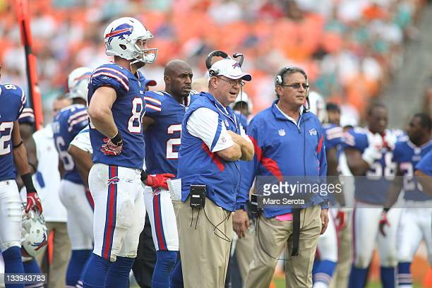 Head Coach Chan Gailey of the Buffulo Bills watches his team against the Miami Dolphins at Sun Life Stadium on November 20 2011 in Miami Gardens...