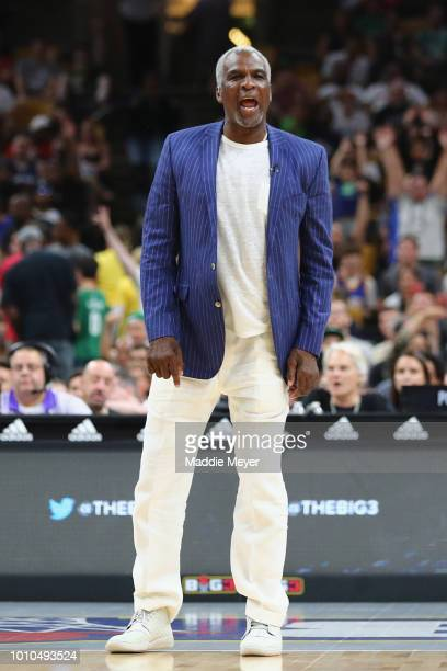 Head coach Charles Oakley of Killer 3s reacts against Tri State during week seven of the BIG3 three on three basketball league at TD Garden on August...