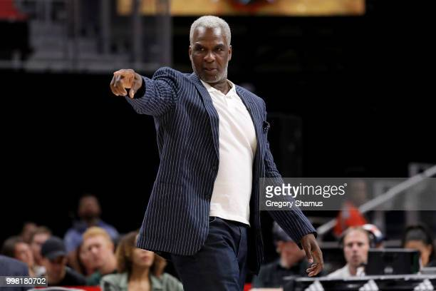 Head coach Charles Oakley of the Killer 3's calls out instructions during the game Trilogy during BIG3 - Week Four at Little Caesars Arena on July...