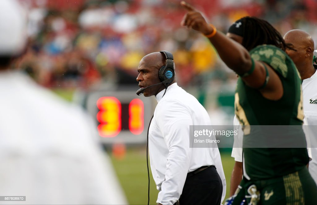 Head coach Charlie Strong of the South Florida Bulls looks on from the sidelines during the third quarter of an NCAA football game against the Houston Cougars on October 28, 2017 at Raymond James Stadium in Tampa, Florida.