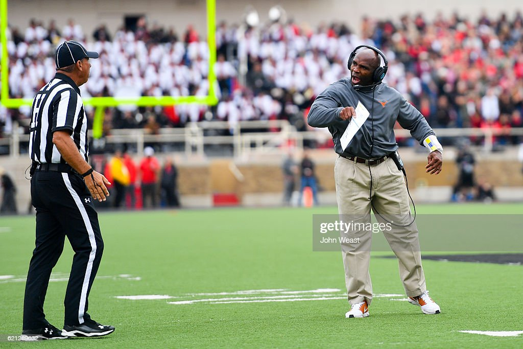 Head coach Charlie Strong of the Texas Longhorns argues a call during the game against the Texas Tech Red Raiders on November 5, 2016 at AT&T Jones Stadium in Lubbock, Texas. Texas defeated Texas Tech 45-37.