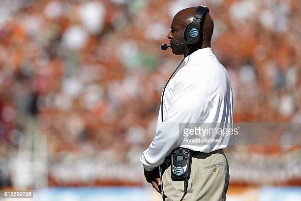Head coach Charlie Strong of the Texas Longhorns at Cotton Bowl on October 8 2016 in Dallas Texas