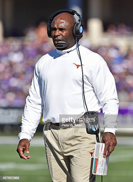 Head coach Charlie Strong of the Texas Longhorns looks onto the field during the first half against the Kansas State Wildcats on October 25 2014 at...
