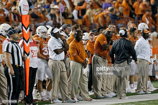 Head coach Charlie Strong of the Texas Longhorns stands on the sidelines as his team is defeated 319 by the TCU Horned Frogs at Darrell K Royal Texas...