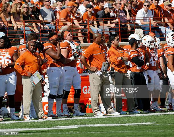 Head coach Charlie Strong of the Texas Longhorns watches as his team plays the West Virginia Mountaineers at Darrell K Royal Texas Memorial Stadium...