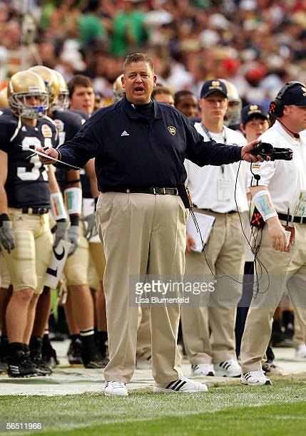 Head coach Charlie Weis of the Notre Dame Fighting Irish reacts on the sideline in the first half against the Ohio State Buckeyes at the Tostito's...