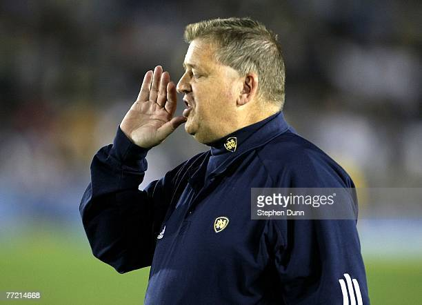 Head coach Charlie Weis of the Notre Dame Fighting Irish shouts instructions during the game with the UCLA Bruins at the Rose Bowl October 6, 2007 in...