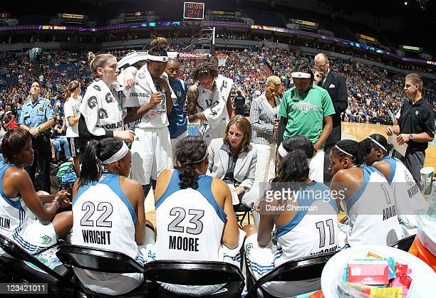 Head coach Cheryl Reeve of the Minnesota Lynx addresses the team during the second half at the game against the New York Liberty on September 2 2011...