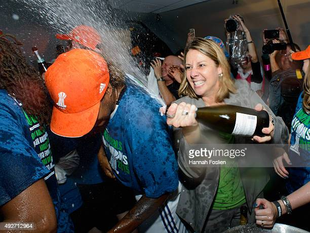 Head coach Cheryl Reeve of the Minnesota Lynx celebrates a win in Game Five of the 2015 WNBA Finals against the Indiana Fever on October 14 2015 at...