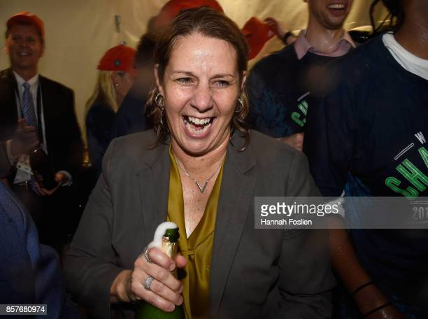 Head coach Cheryl Reeve of the Minnesota Lynx celebrates winning against the Los Angeles Sparks in Game Five of the WNBA Finals on October 4 2017 at...