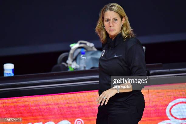 Head coach Cheryl Reeve of the Minnesota Lynx looks on during the second half of Game One of their Third Round playoff against the Seattle Storm at...