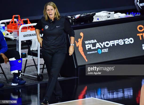 Head coach Cheryl Reeve of the Minnesota Lynx reacts during the second half of Game One of their Third Round playoff against the Seattle Storm at...