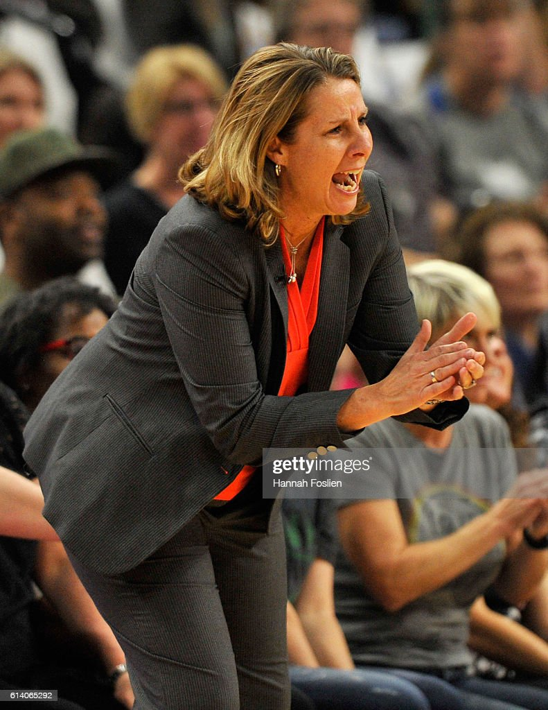 Head coach Cheryl Reeve of the Minnesota Lynx reacts on the sidelines during the first quarter in Game Two of the 2016 WNBA Finals against the Los Angeles Sparks on October 11, 2016 at Target Center in Minneapolis, Minnesota.