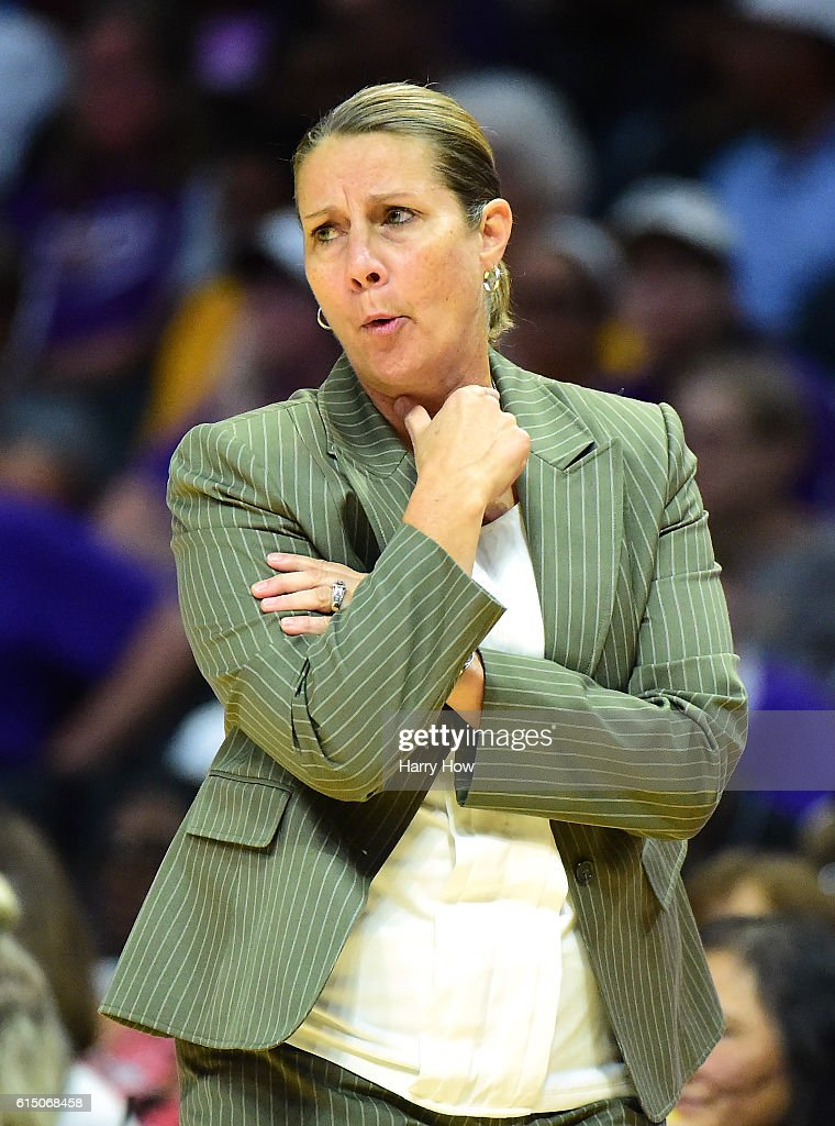 Head Coach Cheryl Reeve of the Minnesota Lynx reacts to play against the Los Angeles Sparks at Staples Center on October 16, 2016 in Los Angeles, California.