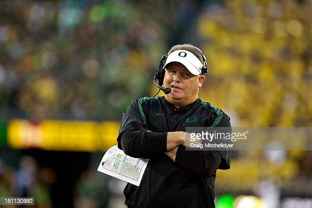 Head coach Chip Kelly of the Oregon Ducks during the second quarter against the Arkansas State Red Wolves on September 1, 2012 at Autzen Stadium in...