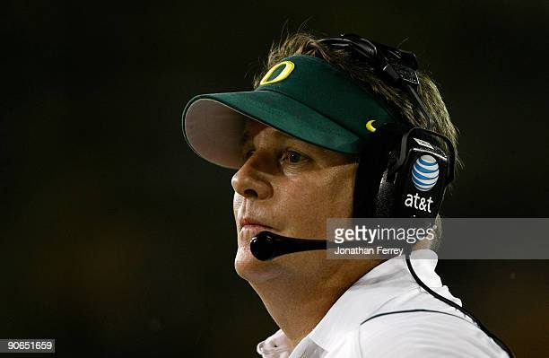 Head Coach Chip Kelly of the Oregon Ducks looks on during the game against the Purdue Boilermakers at Autzen Stadium on September 12, 2009 in Eugene,...