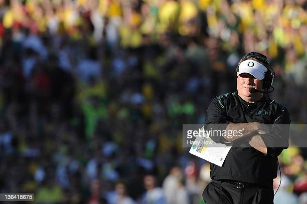 Head coach Chip Kelly of the Oregon Ducks looks on while taking on the Wisconsin Badgers at the 98th Rose Bowl Game on January 2 2012 in Pasadena...