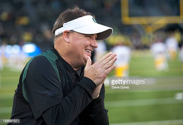 Head coach Chip Kelly of the Oregon Ducks smiles before the game against the USC Trojans at Autzen Stadium on November 19 2011 in Eugene Oregon