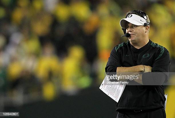 Head Coach Chip Kelly of the Oregon Ducks watches the game against the UCLA Bruins on October 21, 2010 at the Autzen Stadium in Eugene, Oregon.