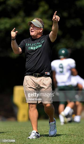 Head coach Chip Kelly of the Oregon yells some instruction during the Ducks practice on August 17, 2010 in Eugene, Oregon.