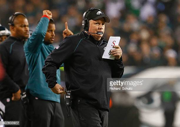 Head coach Chip Kelly of the Philadelphia Eagles calls a play in the fourth quarter of a football game against the Washington Redskins at Lincoln...