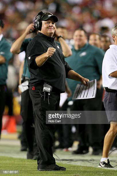 Head coach Chip Kelly of the Philadelphia Eagles reacts in the first half against the Washington Redskins at FedExField on September 9, 2013 in...