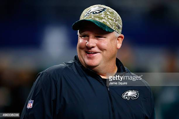 Head coach Chip Kelly of the Philadelphia Eagles talks with players during warm-ups prior to the game against the Dallas Cowboys on November 8, 2015...