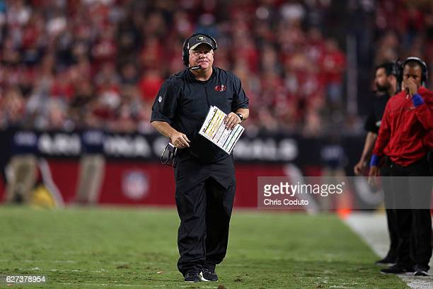 Head coach Chip Kelly of the San Francisco 49ers during the second half of the NFL football game against the Arizona Cardinals at University of...
