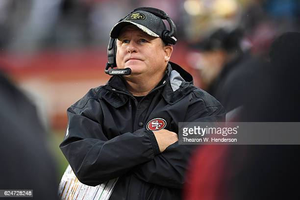 Head coach Chip Kelly of the San Francisco 49ers looks on during their NFL game against the New England Patriots at Levi's Stadium on November 20,...